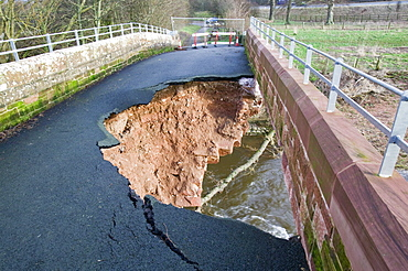 Bridge over the River Petteril destroyed in January 2005 when a severe storm hit Cumbria, Carlisle, Cumbria, England, United Kingdom, Europe