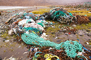 Fishing nets discarded and washed ashore at Camusnary on the Isle of Skye, Scotland, United Kingdom, Europe
