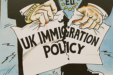 UK Independence Party poster publicising immigration policy, United Kingdom, Europe