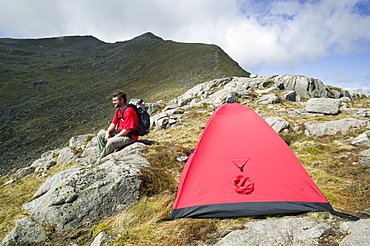 Wild camping on Ben Starav, a Munro in the Highlands, Scotland, United Kingdom, Europe