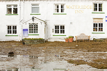 Flooding at the Wateredge Inn at Waterhead on Lake Windermere in Ambleside, Lake District National Park, Cumbria, England, United Kingdom, Europe
