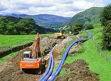 Laying a new water pipeline in the Lake District National Park, Cumbria, England, United Kingdom, Europe