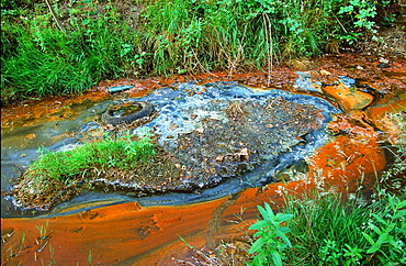 A contaminated water course near Liverpool. Merseyside, England, United Kingdom, Europe