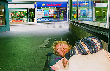 A homeless man sleeping rough on the streets of Leeds, Yorkshire, England, United Kingdom, Europe