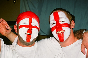 England football fans celebrate a goal in the World Cup
