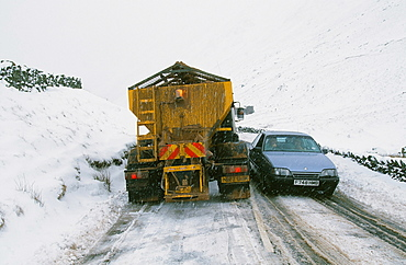 A snow plough on Kirkstone Pass in the Lake District, Cumbria, England, United Kingdom, Europe