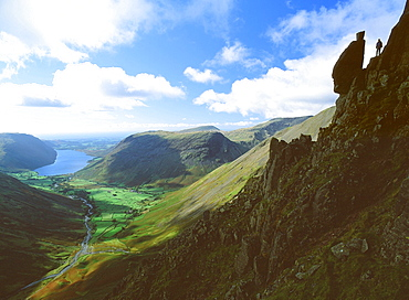 The Sphinx Rock on Great Gable above Wastwater in the Lake District National Park, Cumbria, England, United Kingdom, Europe