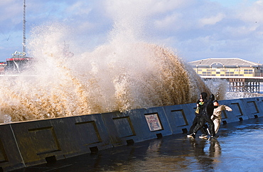 Storm waves breaking over the sea wall at Blackpool, Lancashire, England, United Kingdom, Europe