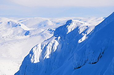 The Northern Cliffs of Ben Nevis plastered in snow Scotland, United Kingdom, Europe