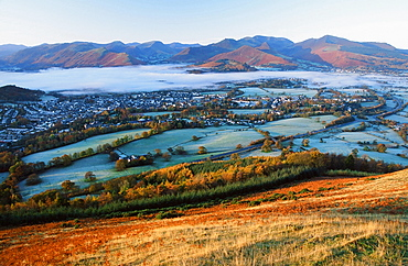 Keswick in autumn in the Lake District National Park, Cumbria, England, United Kingdom, Europe
