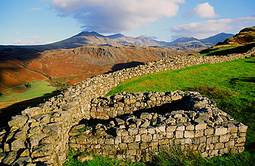 Scafell Pike from Hardknott Roman Fort in the Lake District, Cumbria, England, United Kingdom, Europe