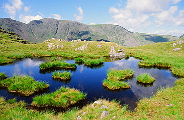 Tarns on Yewbarrow above Wastwater in the Lake District National Park, Cumbria, England, United Kingdom, Europe