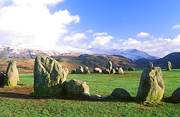 Castlerigg Stone circle and the Helvellyn Range in the Lake District National Park, Cumbria, England, United Kingdom, Europe