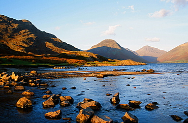 Yewbarrow and Great Gable from Wastwater in the Lake District National Park, Cumbria, England, United Kingdom, Europe