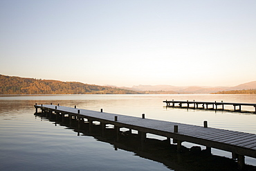 Frost on jetties on Lake Windermere in the Lake District National Park, Cumbria, England, United Kingdom, Europe