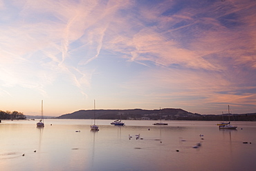 Sailing boats on Lake Windermere in the Lake District at dawn, Cumbria, England, United Kingdom, Europe