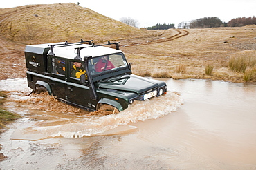 Off road driver training in a Landrover near Penrith, Cumbria, England, United Kingdom, Europe