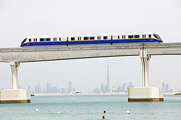 An area of Dubia that was reclaimed from the sea with a monorail transport system to guests to Atlantis on the Palm hotel, Dubai, United Arab Emirates, Middle East