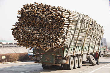 A lorry overloaded with bamboo breaks down in northern China, Asia