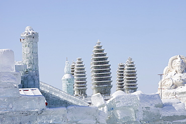 Pagodas built with blocks of ice from the Songhue river in Harbin, Heilongjiang Province, Northern China, Asia