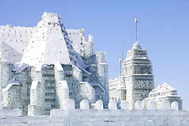 An ice palace built with blocks of ice from the Songhue river in Harbin, Heilongjiang Province, Northern China, Asia