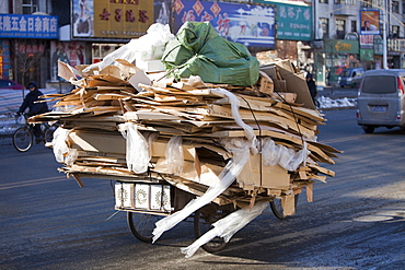 Cardboard being taken for recycling in Suihua city in Heilongjiang Province in northern China, Asia