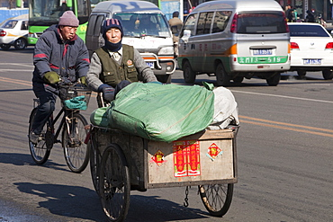 Street scene in a city in Heilongjiang province, Northern China, Asia