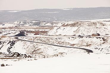 An open cast coal mine near Heihe on the Chinese Russian border, Heilongjiang, China, Asia
