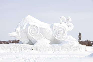 In March 2009 Northern China had its largest snowfall for many years, cutting off many towns and making transport difficult, city of Heihe on the Chinese Russian border, Heilongjiang, China, Asia