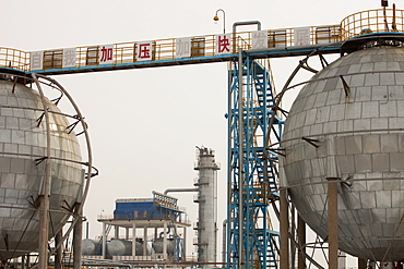 An oil refinery in the middle of the Daqing oil field in northern China, Asia