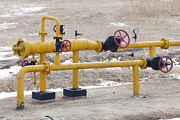 An oil pipeline in the Daqing oil field in Northern China, Asia