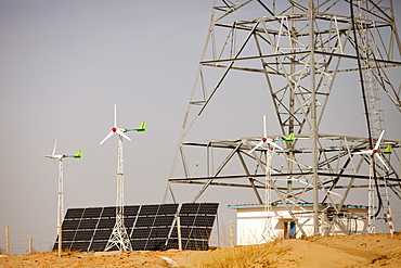 Solar and wind powered electric power a mobile phone mast in a remote part of Inner Mongolia that doesn't have mains electricity, China, Asia
