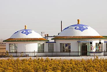 A Mongolian house near Dongsheng in Inner Mongolia, China, Asia