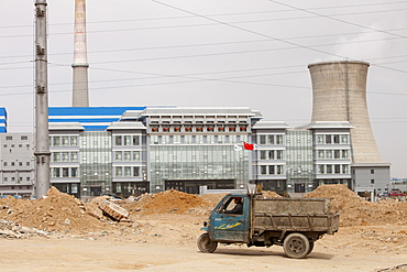 Lorries haul coal to a coal fired power plant in Dongsheng, Inner Mongolia, China, Asia