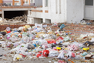 Rubbish lpiled up in the streets of Dongsheng in Inner Mongolia, China, Asia
