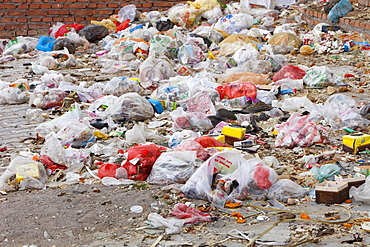 Rubbish piled up in the streets of Dongsheng in Inner Mongolia, China, Asia