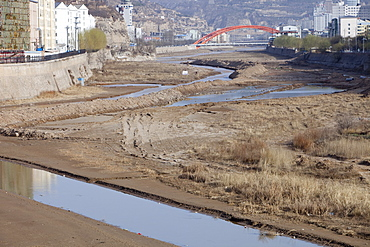 A critically low river in Tongshuan in Shanxi, Northern China, Asia