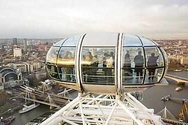 A capsule on the London Eye on the Thames South Bank, London, England, United Kingdom, Europe