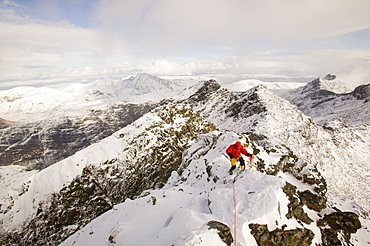 Climber on Sgurr Alasdair on the Cuillin Ridge, Isle of Skye, Scotland, United Kingdom, Europe