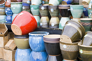 Plant pots at a garden centre in Lincoln, Lincolnshire, England, United Kingdom, Europe