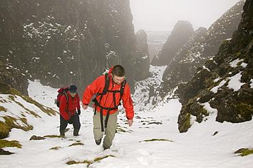 Climbers in the Quiraing on the Isle of Skye, Scotland, United Kingdom, Europe