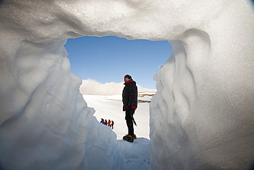 A group of mountaineers building snow holes on Cairngorm in the Cairngorm National Park in Scotland, United Kingdom, Europe