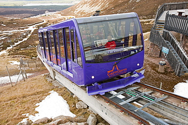 The funicular on the Cairngorm ski resort in Scotland, United Kingdom, Europe