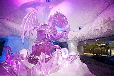 An ice dragon in Ski Dubai, Dubai, United Arab Emirates, Middle East
