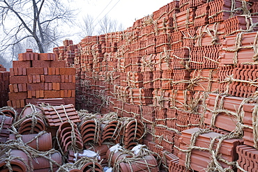 Roof tiles baked from earth deposits in northern China, Asia