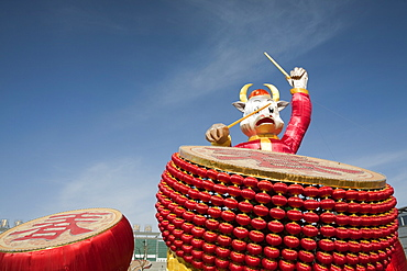 Chinese drummer art work composed of Chinese lanterns in Dongsheng, Inner Mongolia, China, Asia
