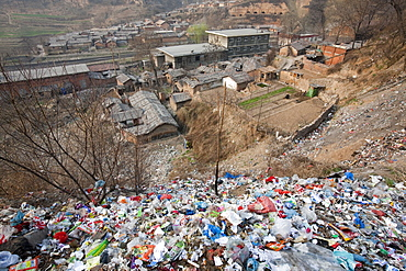 Rubbish discarded in the open on the outskirts of Tongshuan in Shanxi, China, Asia