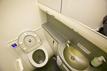 An airline toilet
