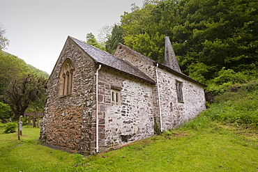 Culbone church, said to be the smallest in England, near Porlock Weir on the north Somerset coast, Somerset, England, United Kingdom, Europe