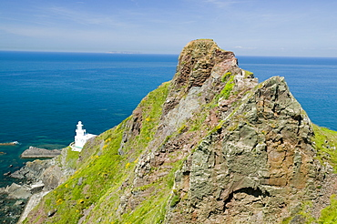 A lighthouse at Hartland Point in Devon, England, United Kingdom, Europe